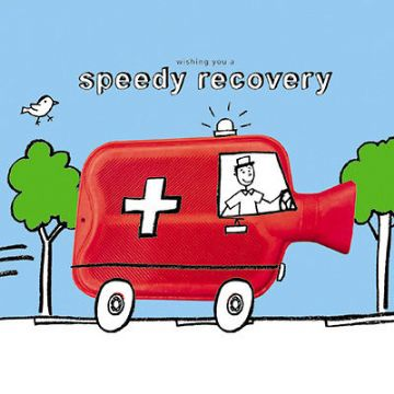 "SPEEDY RECOVERY CARD ""HOT WATER BOTTLE AMBULANCE"" SIZE 6.25"" x 6.25"" 9094 OCEH"
